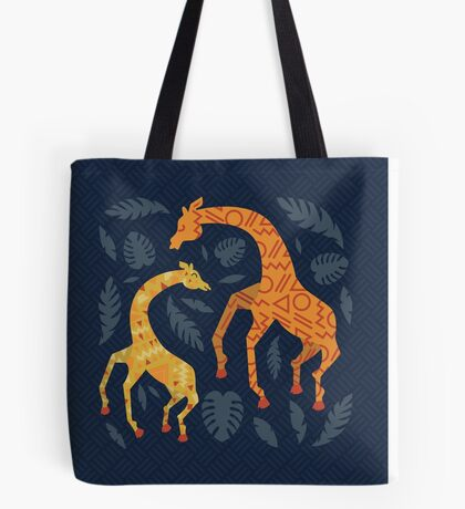 Dancing Giraffes with Patterns Tote Bag