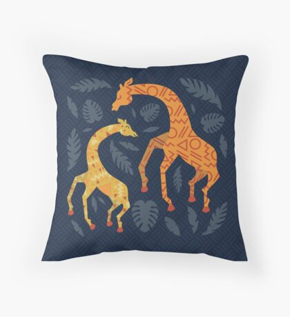 Dancing Giraffes with Patterns Throw Pillow
