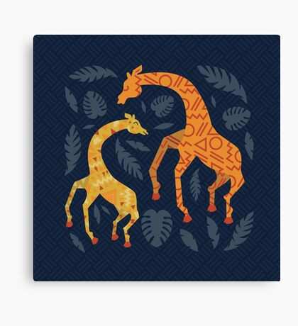 Dancing Giraffes with Patterns Canvas Print
