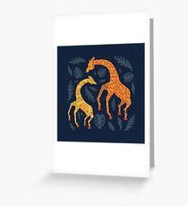 Dancing Giraffes with Patterns Greeting Card