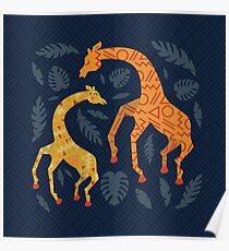 Dancing Giraffes with Patterns Poster
