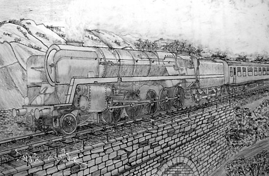 My pencil drawing of The Last of the British Rail Steam Locomotives by Dennis Melling