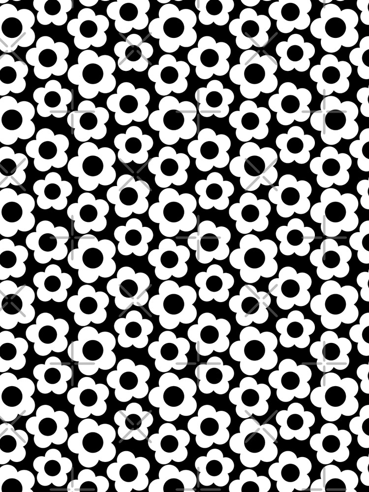 Retro Black and White Simple Flower Pattern by ClaudiaFlores