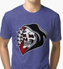 Traditional Grim Reaper Head Tri-blend T-Shirt