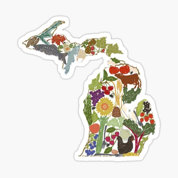 Floral Michigan Sticker