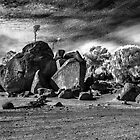 Large granite boulders b&w ir by BigAndRed
