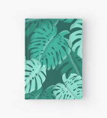 Tropical Dark Green Monstera Print  Hardcover Journal