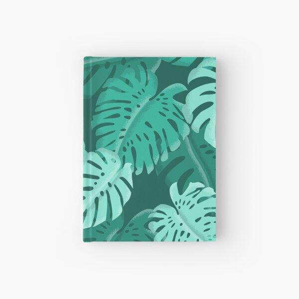 Tropical Dark Green Monstera Print  Hardcover Journal
