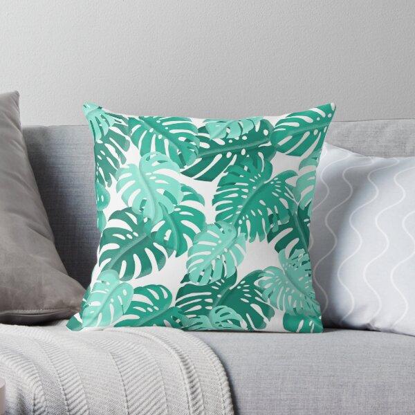 Tropical Green Monstera Print  Throw Pillow