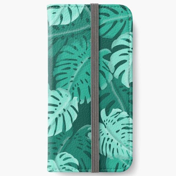Tropical Dark Green Monstera Print  iPhone Wallet