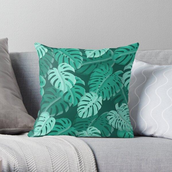 Tropical Dark Green Monstera Print  Throw Pillow