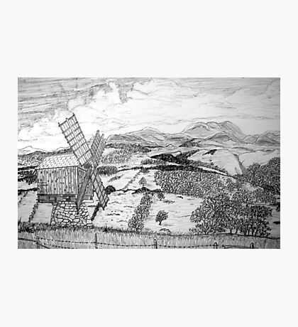 Traditional Romanian Windmill with a View, Barda Village Photographic Print