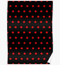 Polka / Dots - Red / Black - Small Poster