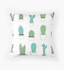 Multi Cactus Print  Throw Pillow