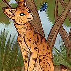 Der Serval und der Schmetterling von thekohakudragon