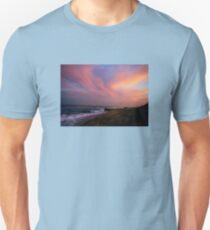 VIVID PINK TWILIGHT AT THE BEACH Unisex T-Shirt