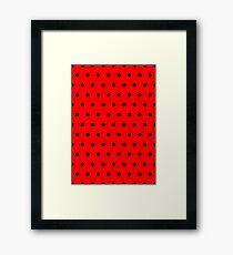 Polka / Dots - Black / Red - Small Framed Print