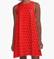 Polka / Dots - Black / Red - Small A-Line Dress
