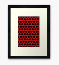 Polka / Dots - Black / Red - Large Framed Print