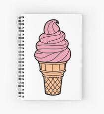 Pink Retro Style Icecream Cone Spiral Notebook