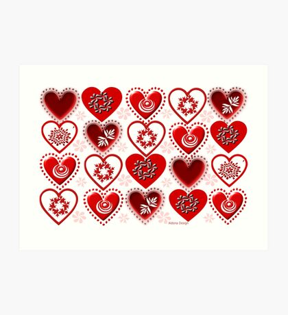 red heart pattern (154 Views) Art Print
