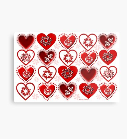 red heart pattern (154 Views) Metal Print