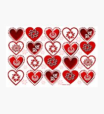 red heart pattern (134 Views) Photographic Print