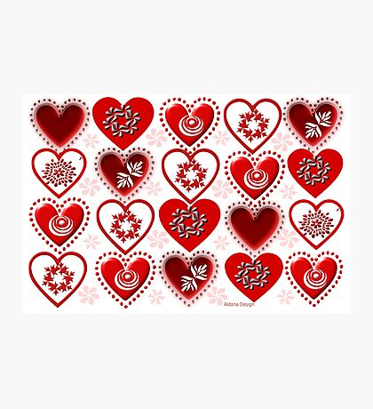 red heart pattern (114 Views) Photographic Print