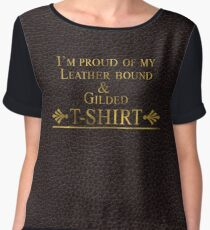 Exclusive Luxury Leather bound and Gilded Cotton Chiffon Top