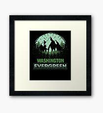 Washington Evergreen Mountain Graphic Framed Print
