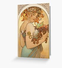 'Fruit' by Alphonse Mucha (Reproduction) Greeting Card