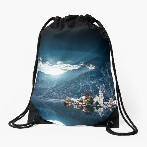 hallstatt in austrian alps Drawstring Bag