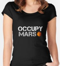 elon musk occupy mars Women's Fitted Scoop T-Shirt