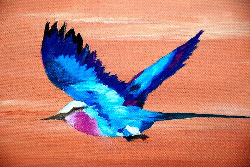 Roller on the wing by Susan Harley