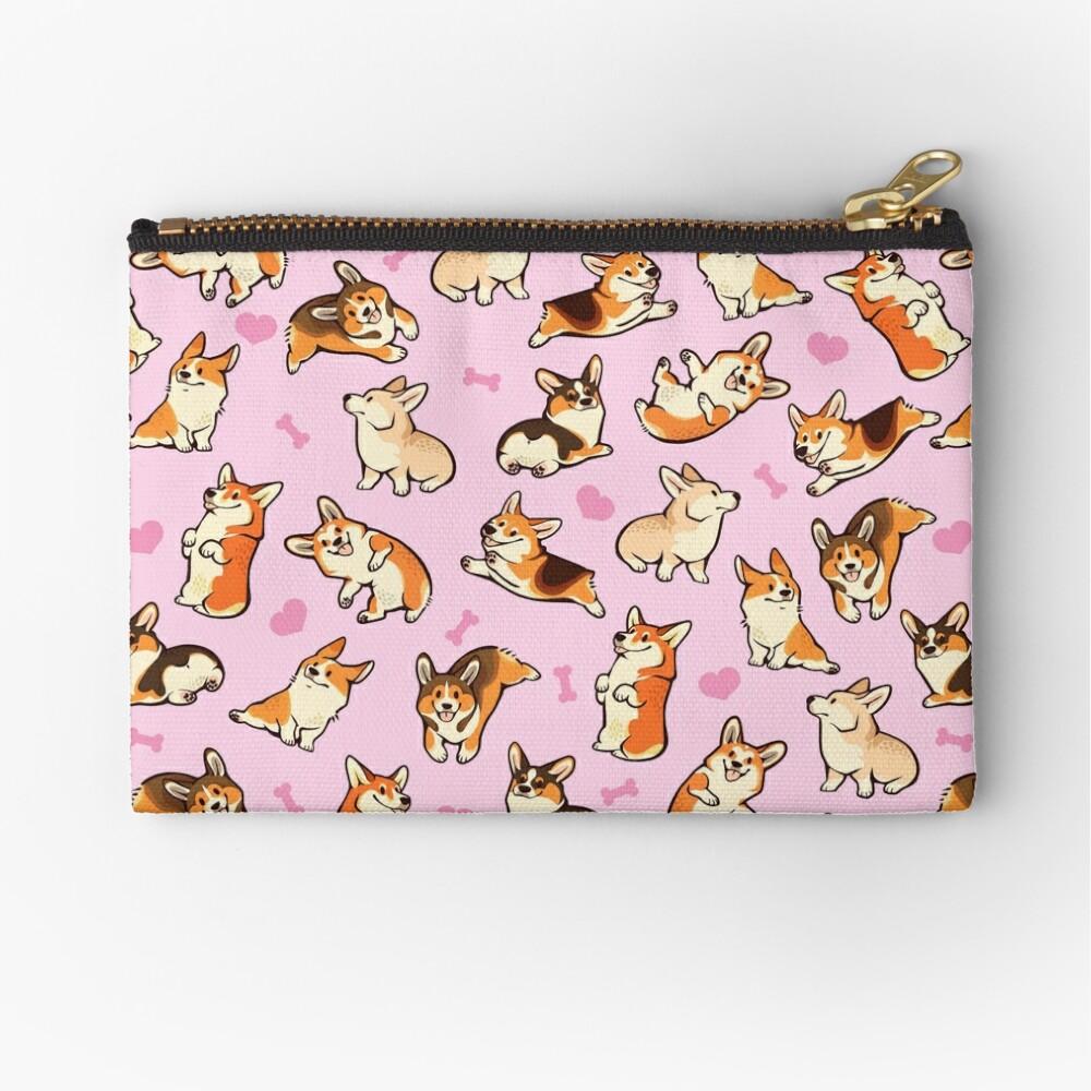 Lovey corgis in pink Zipper Pouch
