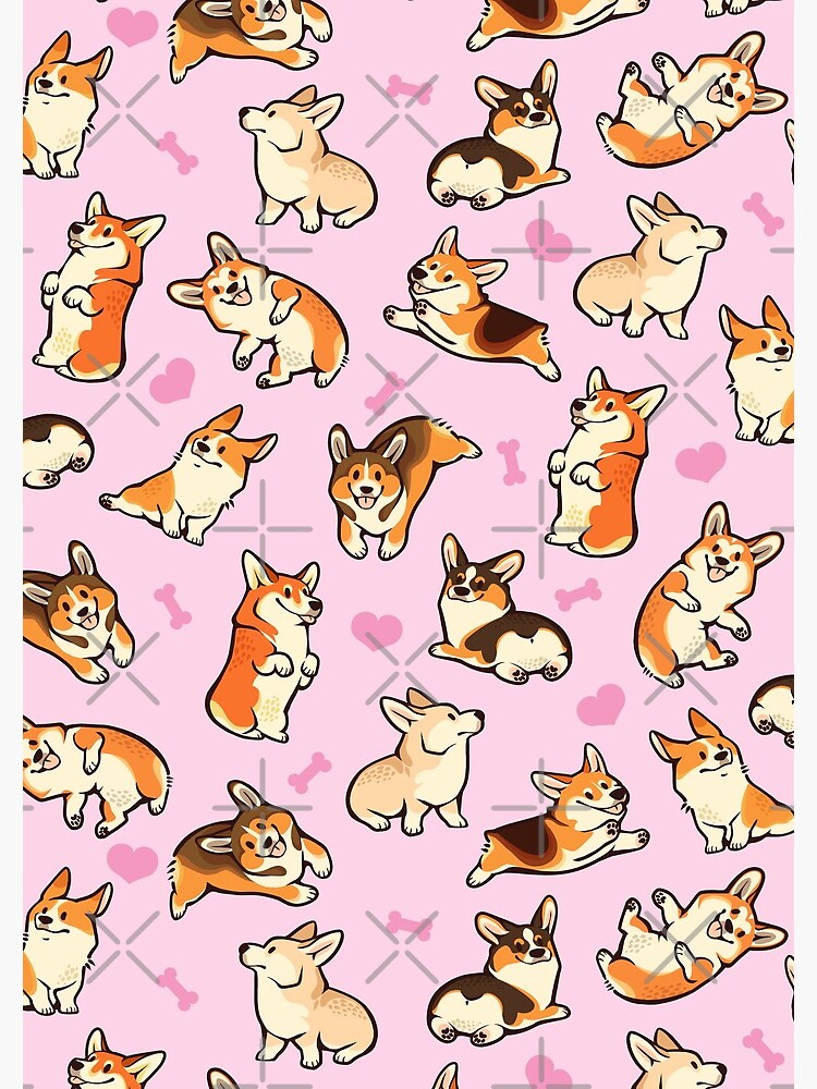 Lovey corgis in pink by Colordrilos