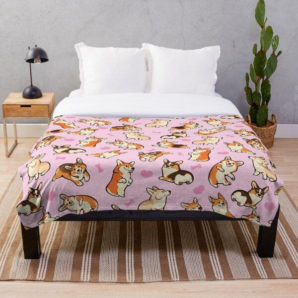 Lovey corgis in pink Throw Blanket