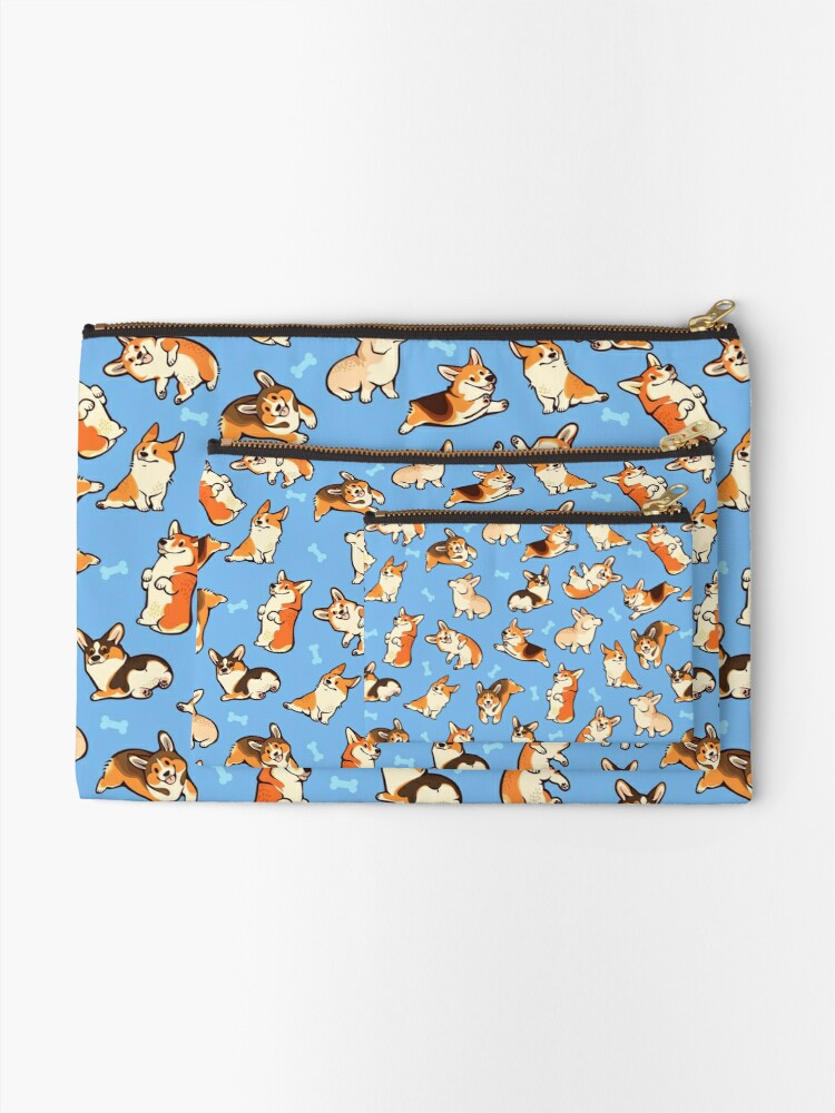 Alternate view of Jolly corgis in blue Zipper Pouch