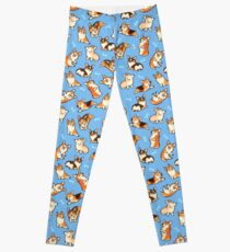 Jolly Corgis in blau Leggings