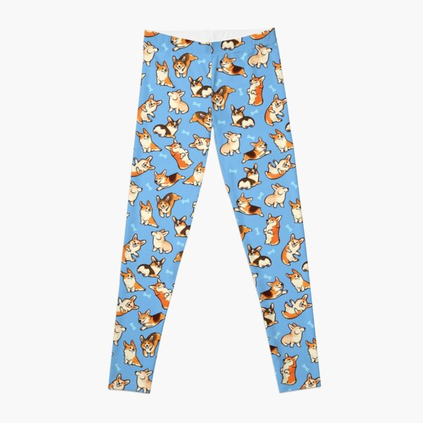 Jolly corgis in blue Leggings