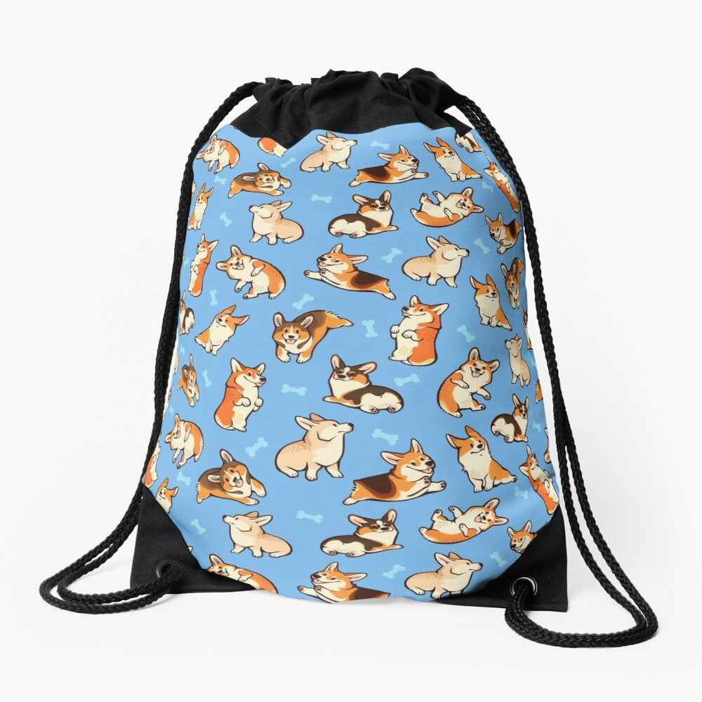 Jolly corgis in blue Drawstring Bag