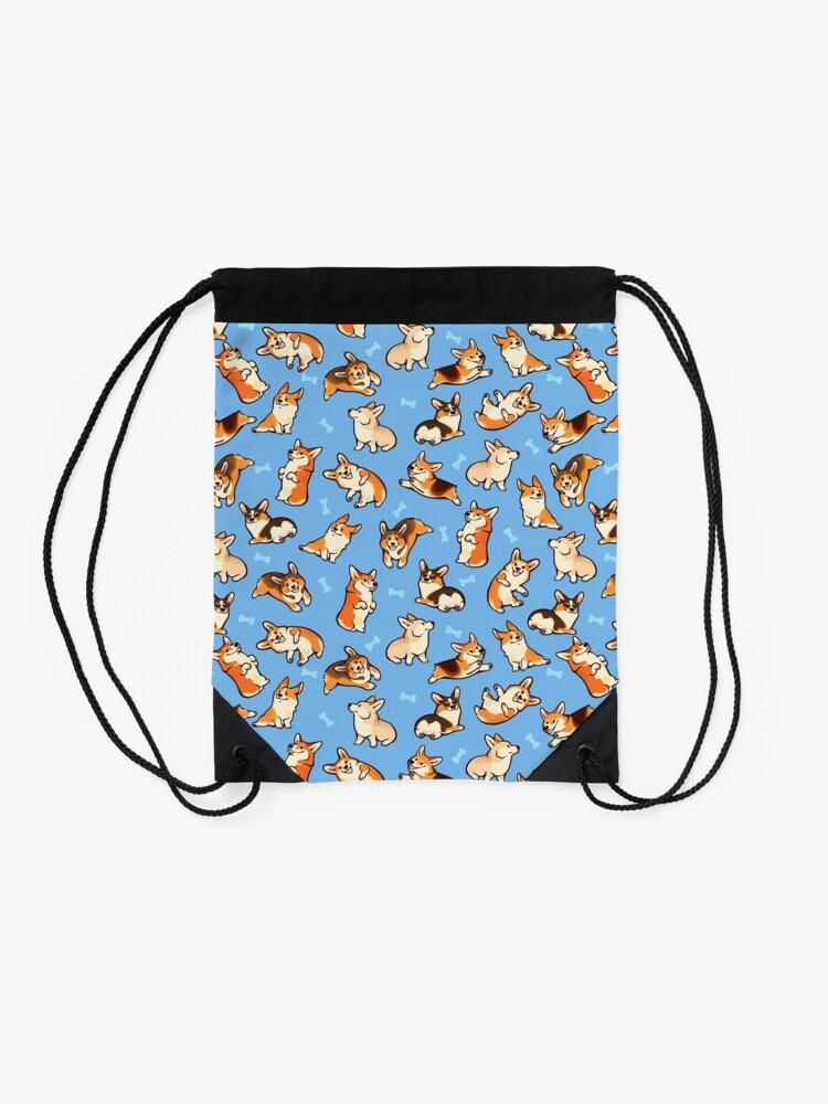Alternate view of Jolly corgis in blue Drawstring Bag