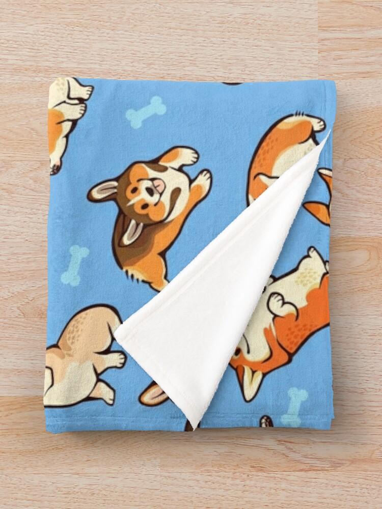 Alternate view of Jolly corgis in blue Throw Blanket