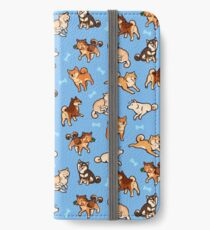 shibes in light blue iPhone Wallet/Case/Skin