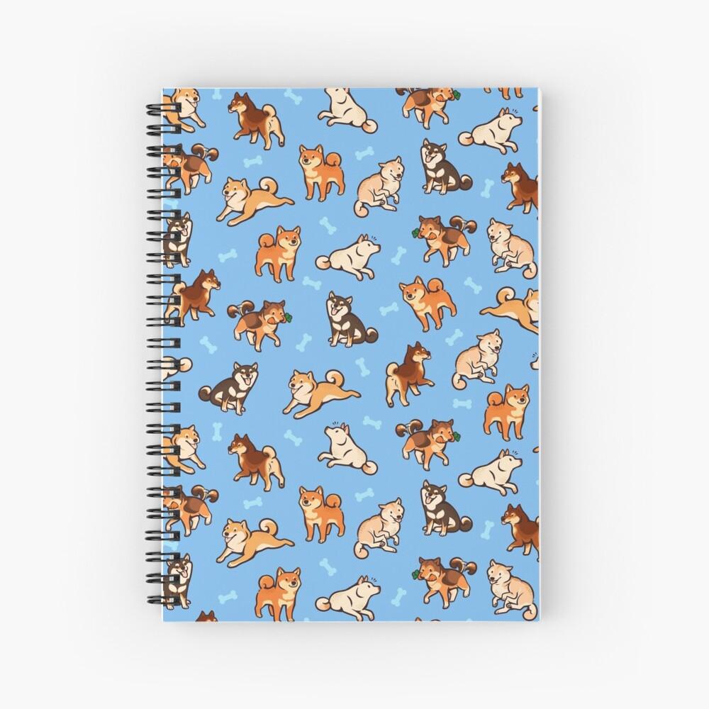 shibes in light blue Spiral Notebook