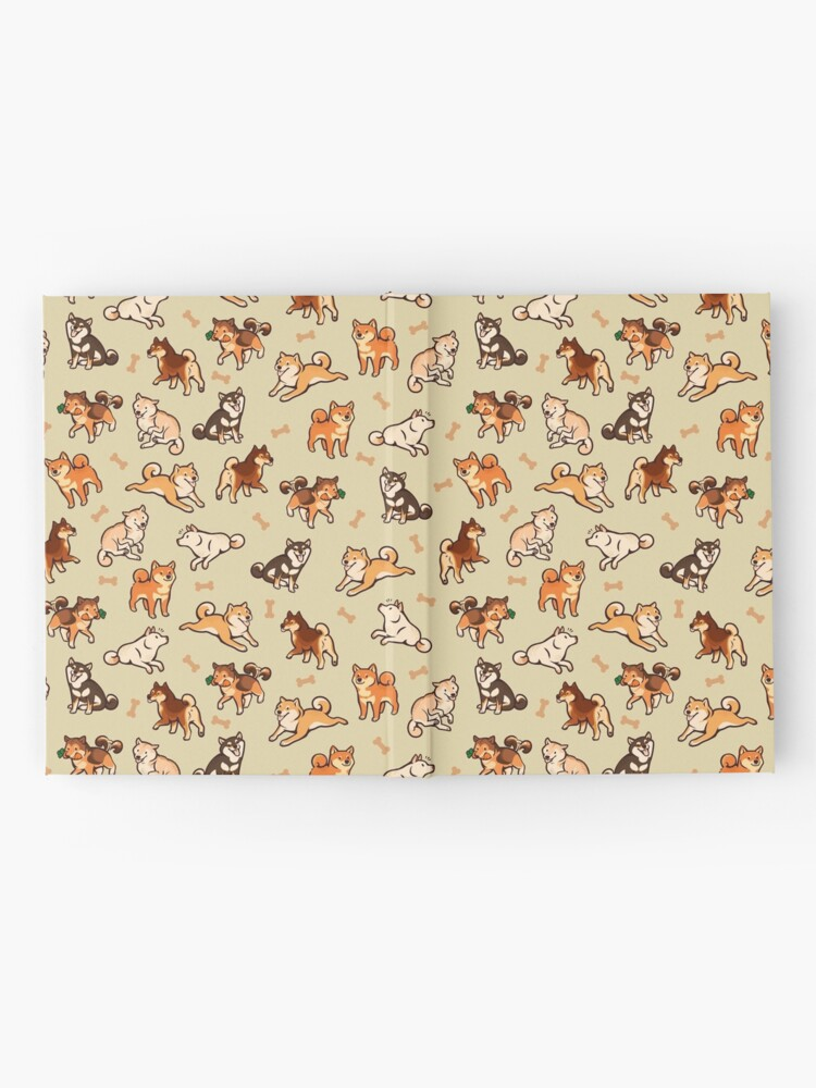 Alternate view of shibes in cream Hardcover Journal