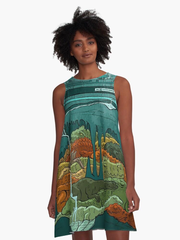 Dinosaurs Asleep A-Line Dress Front
