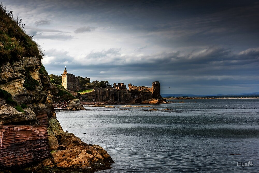 Coastline and Castle by Alan Sinclair