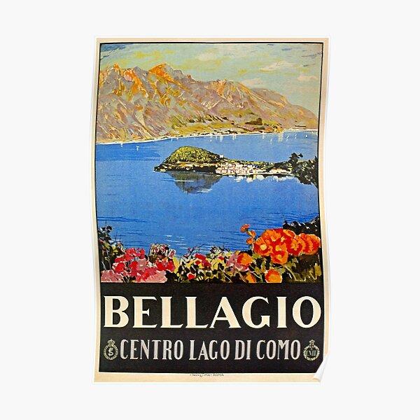 Italy Bellagio Lake Como vintage Italian travel advert Poster