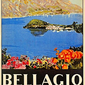 Italy Bellagio Lake Como vintage Italian travel advert by aapshop